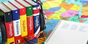 Closeup of four foreign language books